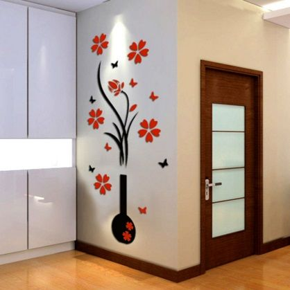 Vase 3D acrylic crystal three-dimensional wall stickers http://mjhomeshopping.blogspot.com/search/label/Wall%20stickers