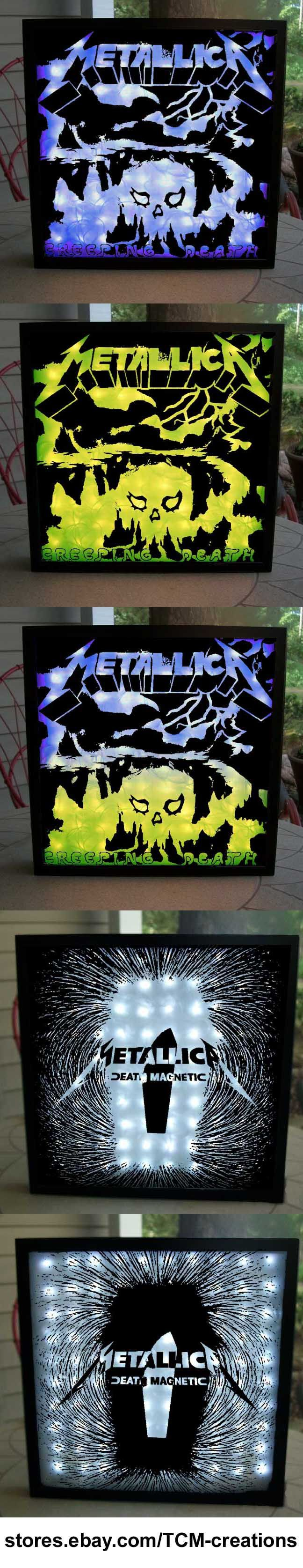 Metallica Shadow Boxes with LED lighting.  James Hetfield, Cliff Burton, Jason Newstead, Robert Trujillo, Kirk Hammett, Lars Urich, Kill em All, Ride The Lightning, Master Of Puppets, And Justice For All, Load, Reload, St Anger, Death Magnetic, Hardwired... To Self Destruct.
