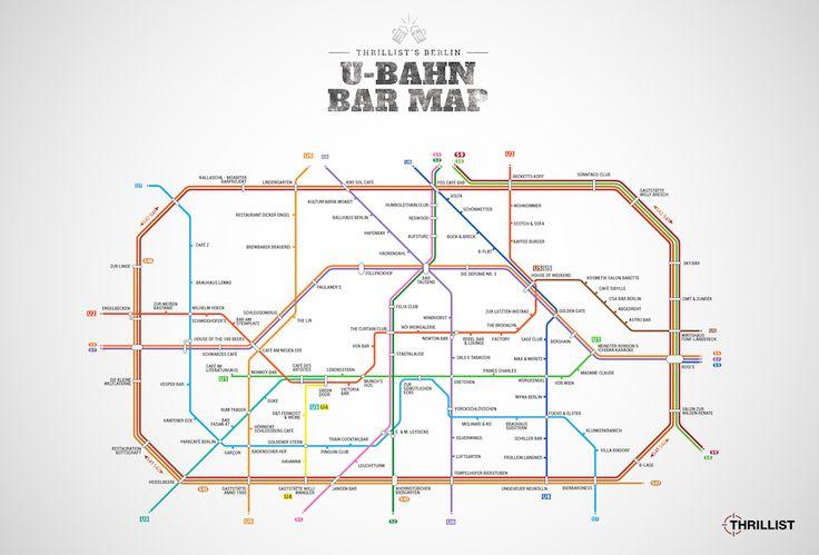 U-Bahn-Kneipen-Karte von Berlin, Hamburg und Köln