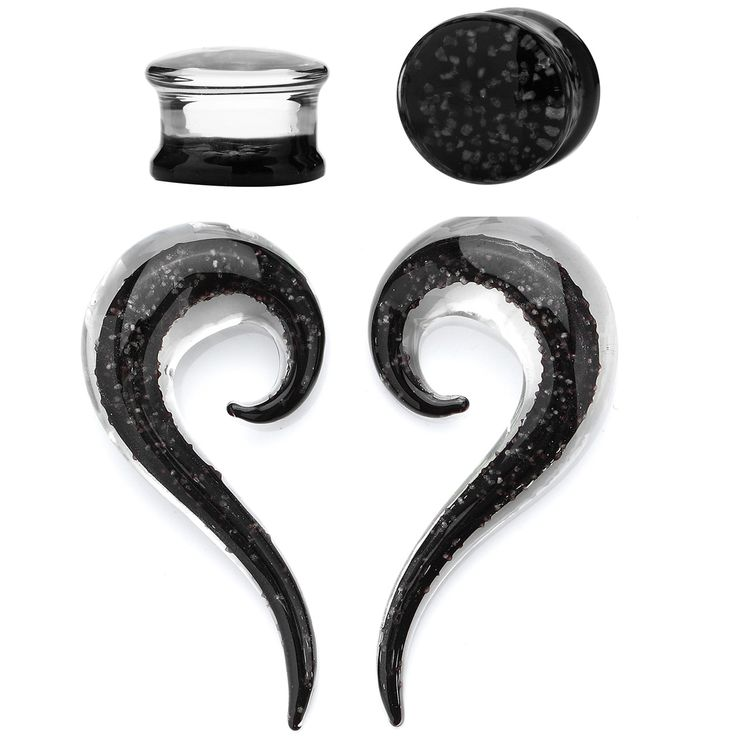 BodyJ4You® Glass Gauges Kit Twisted Ear Tapers Plugs Black Ink Glow in the Dark 4G-12mm Piercing Jewelry