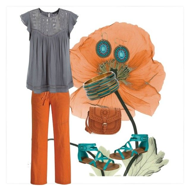 Rust, grey and turquoise color combinations outfit by thalsali on Polyvore featuring polyvore, fashion, style, New Look, Black Diamond, Sole Society and clothing