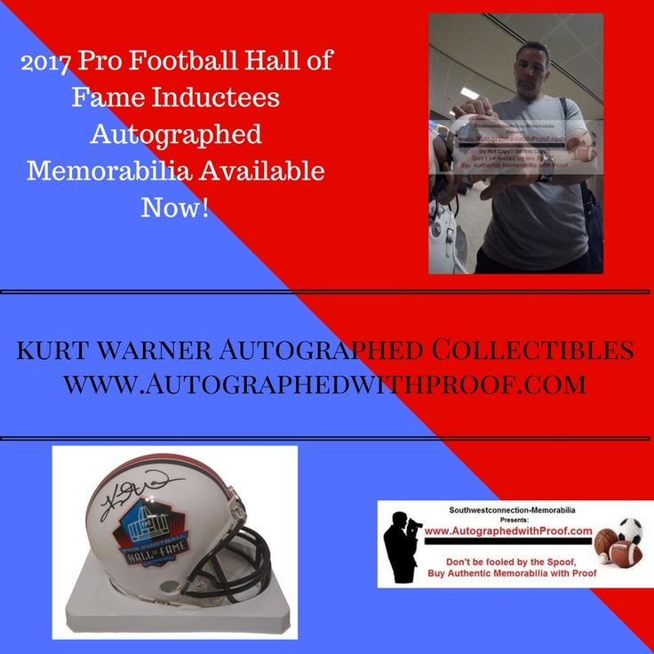 Congratulations to 2017 Pro Football Hall of Fame Inductee Arizona Cardinals MVP Quarterback Kurt Warner.  Kurt Warner autographed this Pro Football Hall of Fame mini helmet in black sharpie. Proof Photo of Kurt Warner signing will be included with purchase. Free USPS Priority Mail shipping.