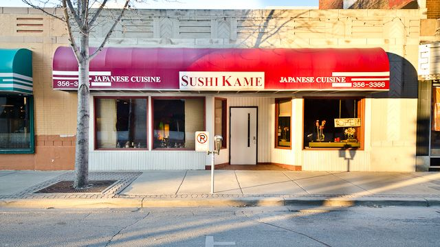 Sushi Kame is in downtown Champaign near Church and Randolph. You get a hot towel when you sit down and great service! Their bento boxes and sushi are awesome! It's not fancy, but it's GOOD!