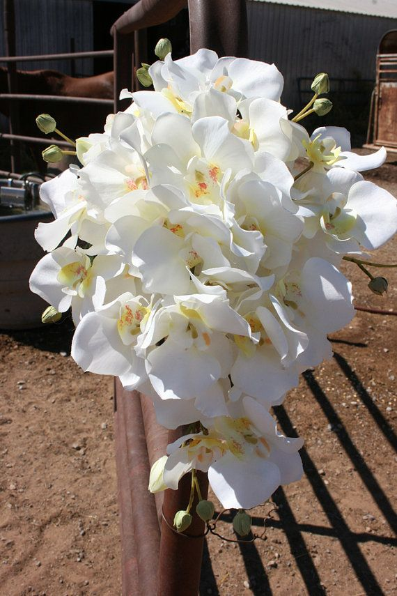 White Cascading Orchid Bridal Bouquet by thewildbride on Etsy, $60.00