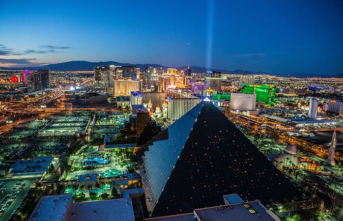 Neon lights light up the Las Vegas Strip.