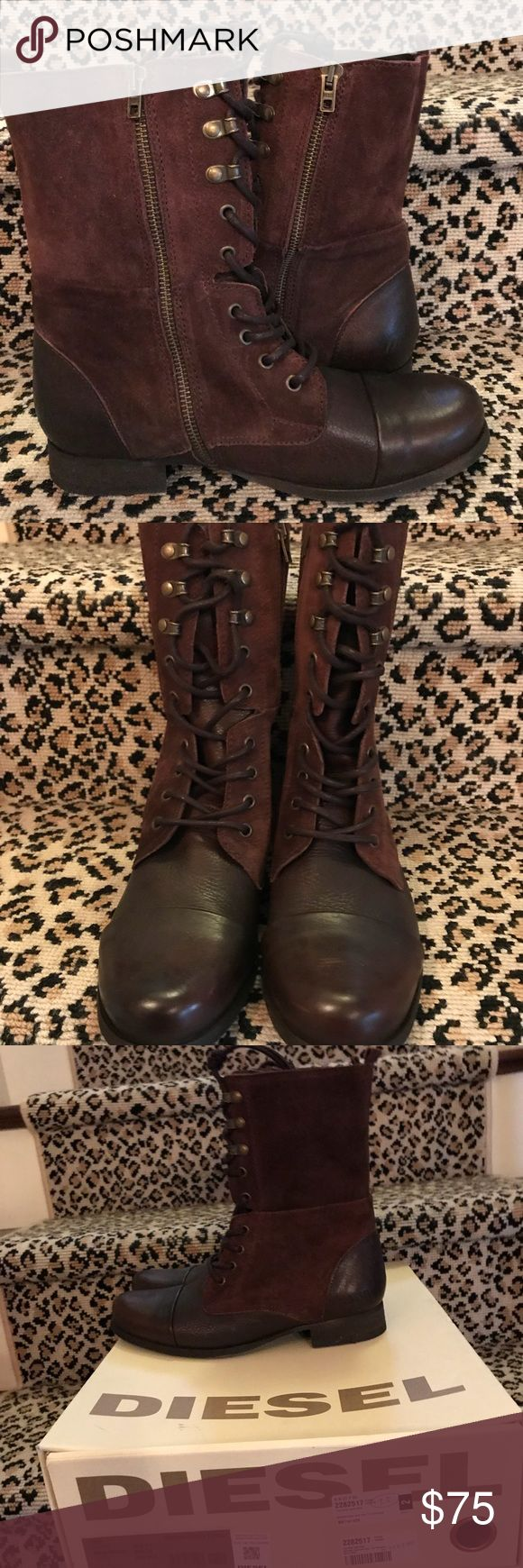 "NIB Brown Diesel 👢 Boots. 7.5 Brand New/In Box Brown Diesel 👢 Boots. A Lace Up ""Combat Style"" with a Feminine Look. Lace Up and Inner Zipper. Boots are Leather and Suede. 7.5 Diesel Shoes Lace Up Boots"