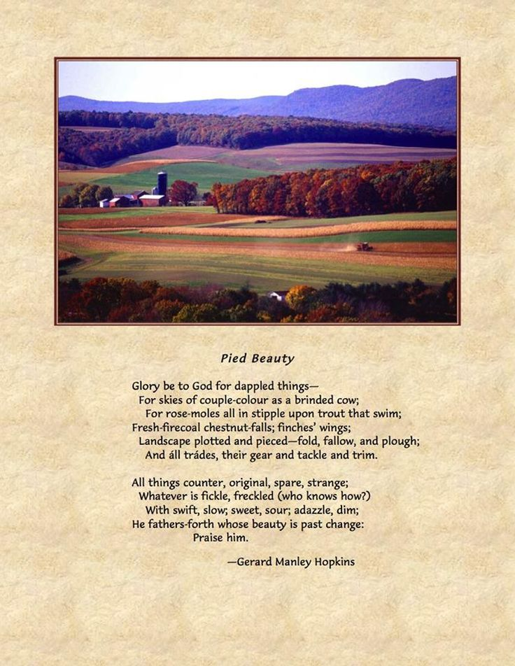 """an analysis of the poem pied beauty Hopkins masterfully uses figurative language to convey imagery that leads to the reader's appreciation of the """"mental pictures"""" the poet is attempting to convey."""