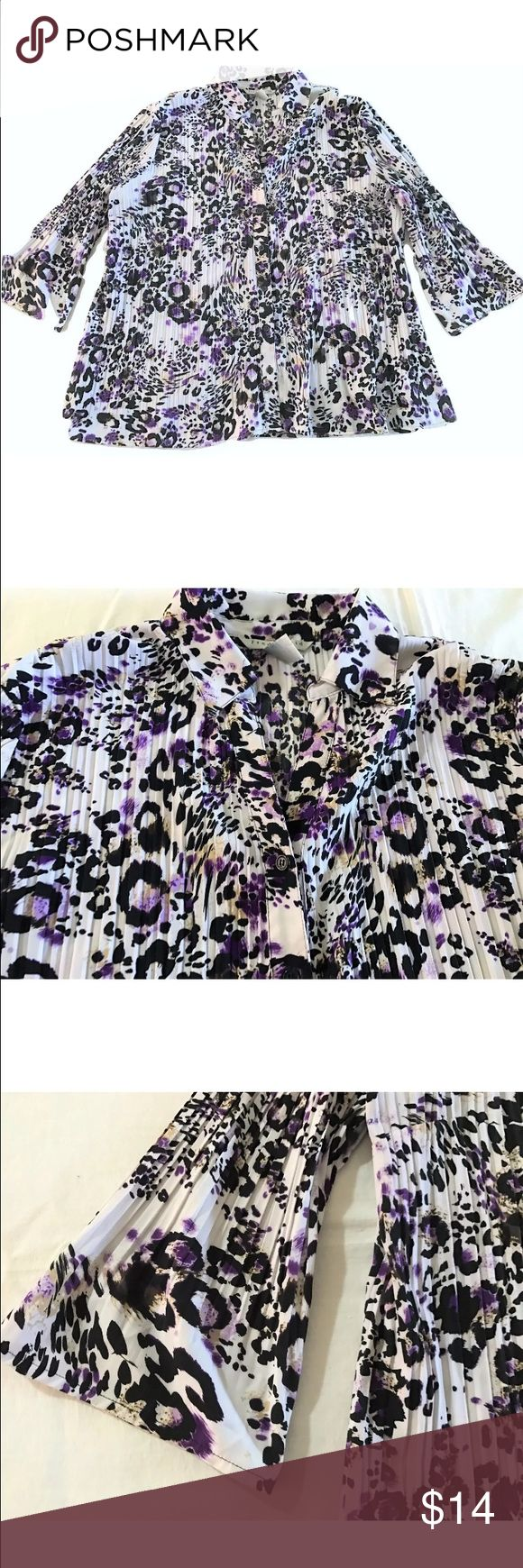 Fred David Plus Size Accordion Crinkle Blouse Fred David Woman Plus Size Accordion Crinkle Blouse SIZE 22/24  In very gently used, overall very good, very clean condition.  Accrodion crinkle stretch fabric, in a fun purple black animal print on a white background Button front, with a V opening left at the top, with no bouttons Collard 3/4 lightly belled sleeves Size: 22/24 Bust: 54 inches around unstretched Length: 27 inches  97% Polyester, 3% Spandex Thank you so much! Fred David Tops…