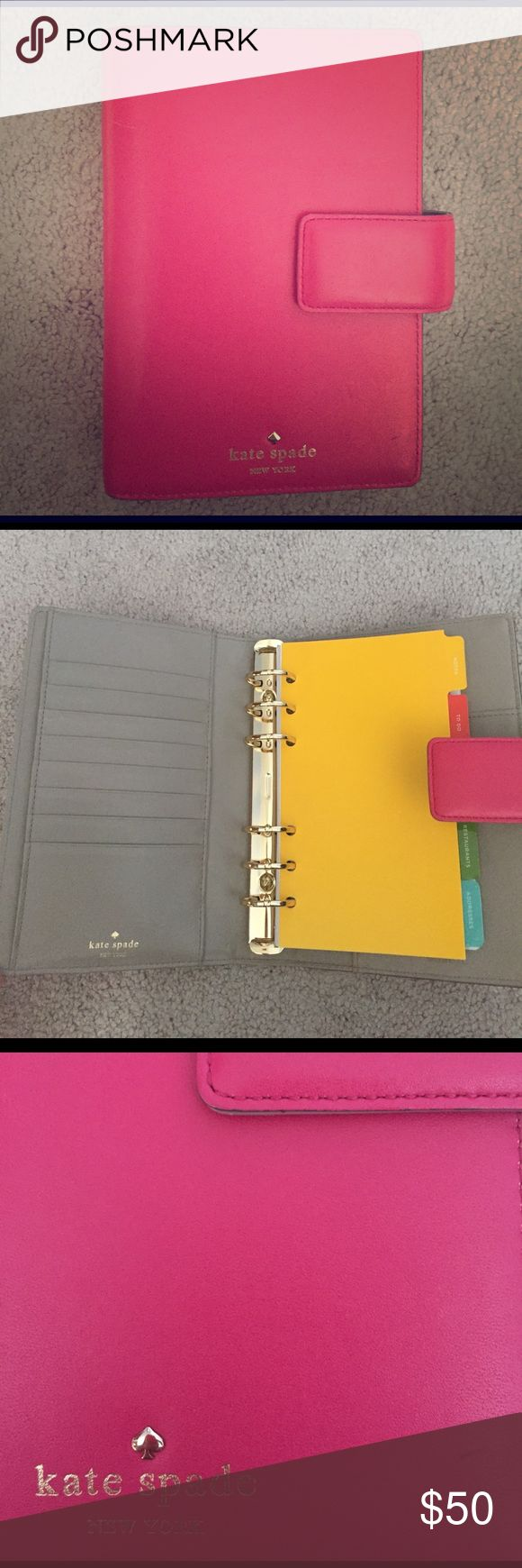 """Tudor City Large Debra Agenda Leather Designer logo at front Leather interior lining with a slip pocket, a slide pocket, eight card slots, a pen holder, comes with these inserts: Notes, To Do, Birthdays, Restaurants, and Addresses *does not include 2017 calendar insert* Side snap tab closure Measurements: Body length 5¼"""", height 7½"""", width 2"""" kate spade Other"""