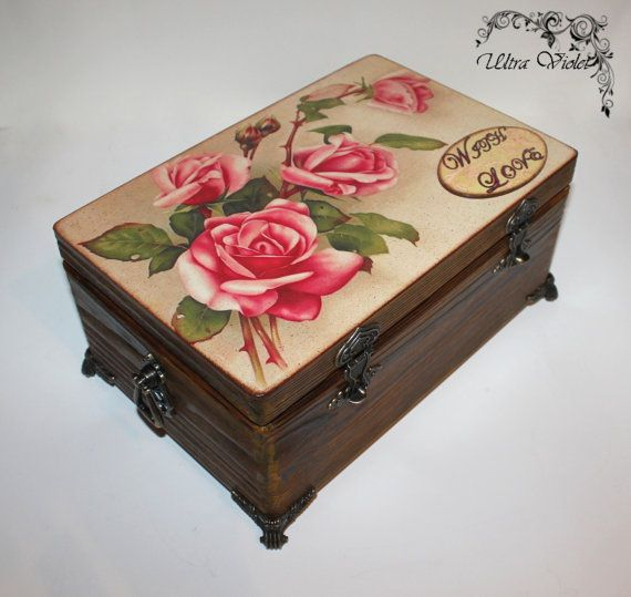 "Large jewelry box / jewelry box with mirror (wood flamed)  ""With Love"" (wooden box)"