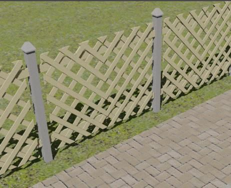 Lattice fence (but with a top rail on it like on the other side of the yard)