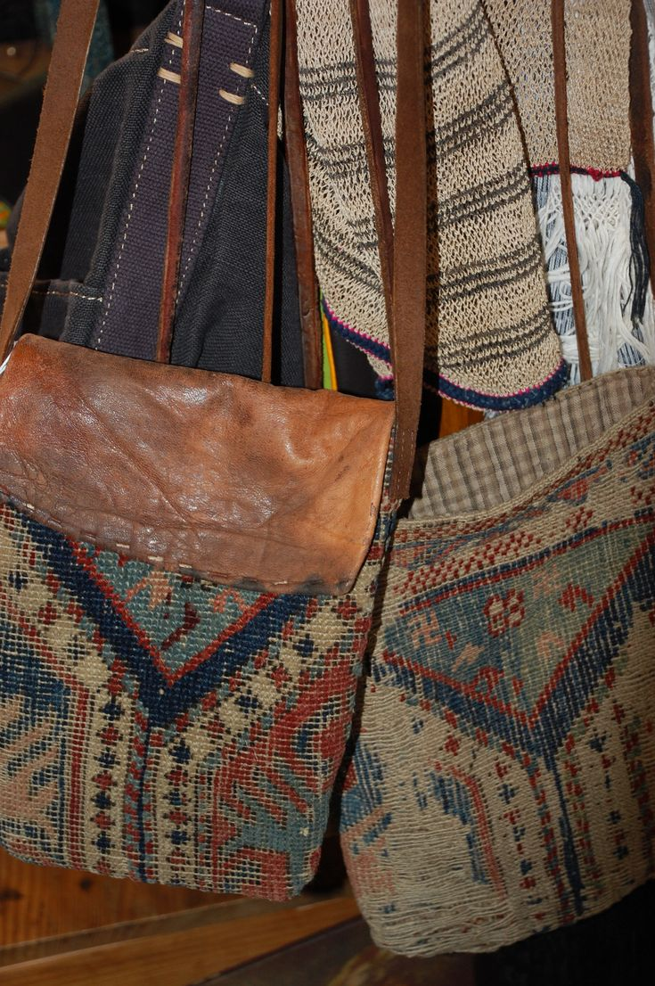 recycled bags from beautifully naturally aged leather and wonderful old textiles