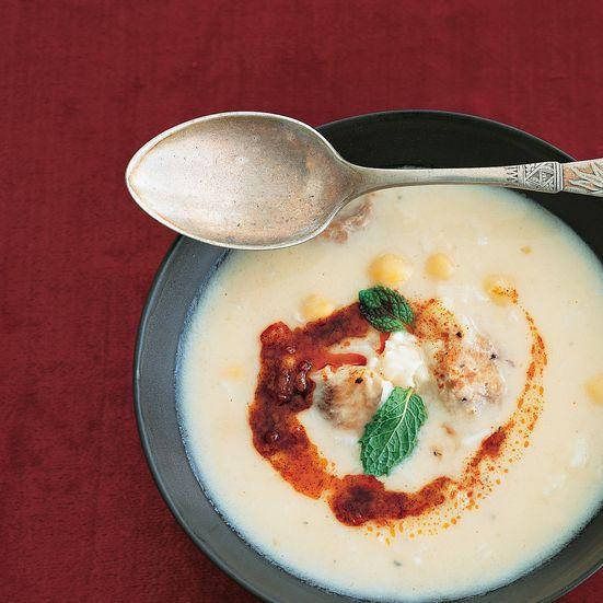 turkish soup with chicken, chickpeas + yogurt