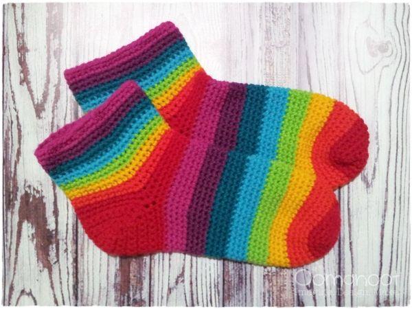 Rainbow Slippers Socks [Free Crochet Pattern]