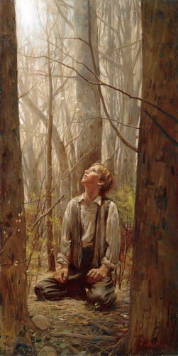 Joseph Smith in the Sacred Grove. Artist: Walter Rane. He used his son as a model to make sure the age was correctly depicted, and the grove at the right time of year. Awesome.