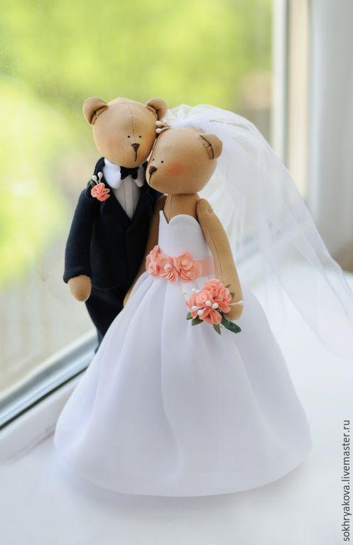 """Купить Свадебные мишки с """"портретным сходством"""". - разноцветный, тильда, мишки, подарок, подарок на свадьбу, свадьба"""
