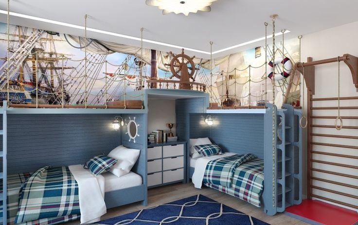 Дизайн интерьера детской комнаты для двух мальчиков. Морской стиль, место для игры, пиратская романтика)