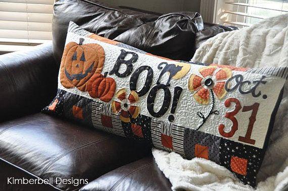 """Bench Pillow PATTERN """"Halloween Boo!"""" KD180"""