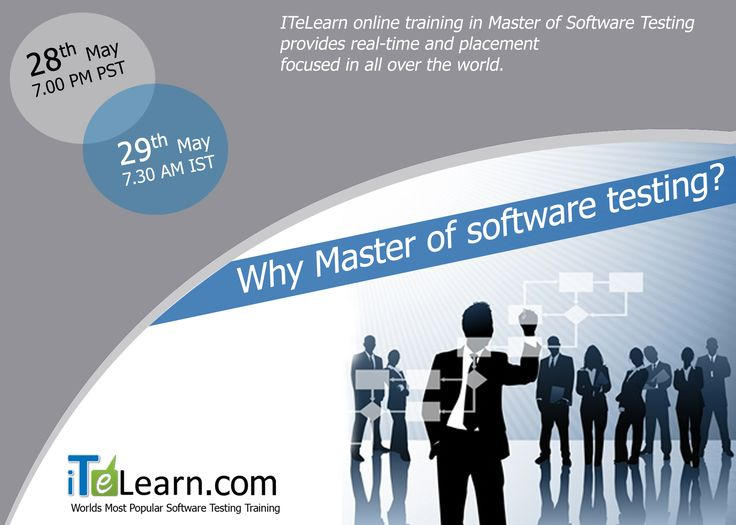 """----->Do you want to turn your carreer in #SoftwareTesting?  Here is a great chance for you.  ------>Register here: http://www.itelearn.com/events/master-of-software-testing-v/  #ITeLearn  is coming up with #OrientationSession on  """"Master of  #Software #Testing"""" in this Summer. This online training in Master of Software Testing provides real-time and placement focused in all over the world.Join this Orientation Session on May 28th, 2015 at 7.00pm Pacific/May 29th at 7:30 am IST."""