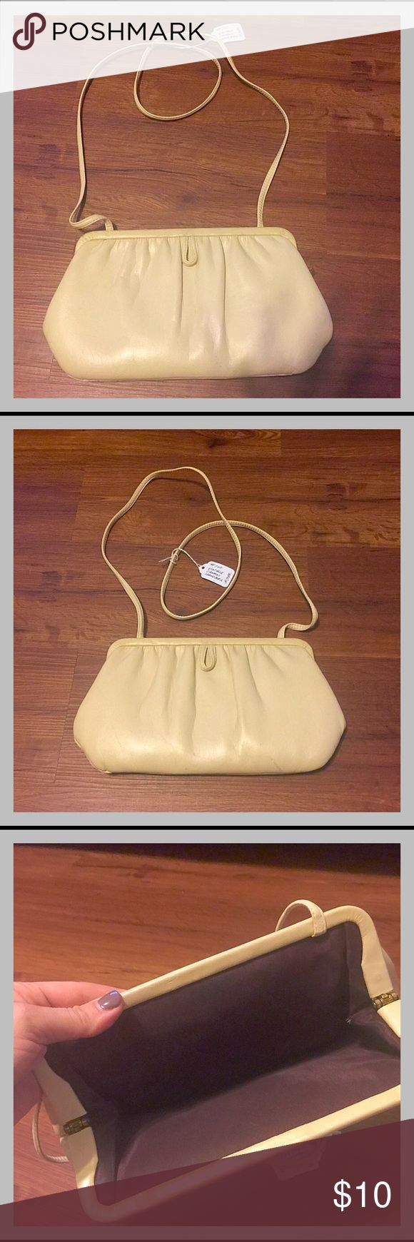 """Vintage Cream Shoulder Bag Small vintage shoulder bag.  Very minimal signs of wear.  Excellent vintage condition!  Measures 11"""" across (at widest point) and is 6"""" tall.  Strap is 20"""" long. Vintage Bags Shoulder Bags"""