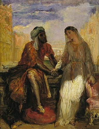 Othello, the Moor and Desdemona, his Venetian wife, from William Shakespeare's play Othello