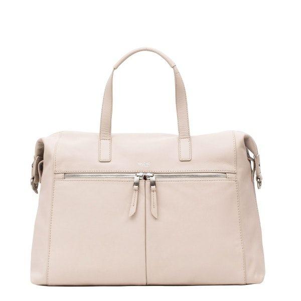 """Audley 14"""" Leather Laptop Shoulder Bag - Concrete   KNOMO"""