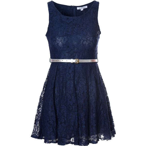 Navy Lace Belted Dress (£14) ❤ liked on Polyvore featuring dresses, navy, navy skater dress, navy blue dress, navy lace dress, skater dress and blue lace dress