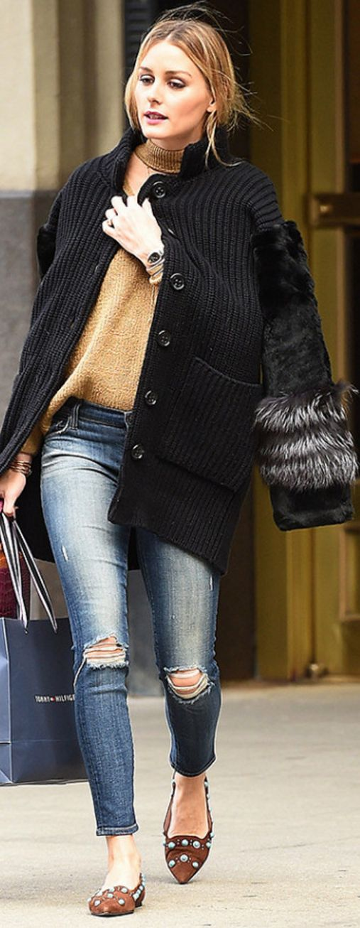 Olivia Palermo in Sweater – Storets  Cardigan coat – Agnona  Shoes – Pretty Ballerina  Watch – Bvlgari  Purse – Analeena  Jeans – J Brand
