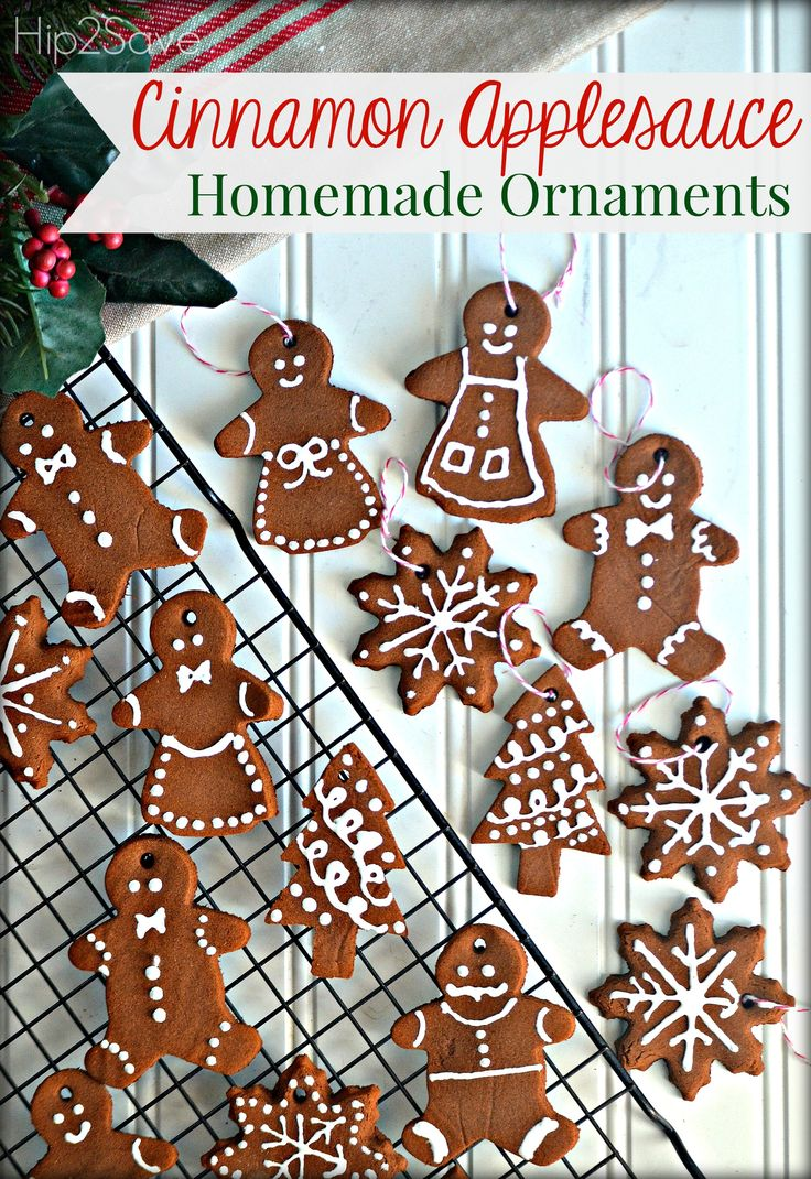"Homemade Cinnamon Applesauce Ornaments. These holiday ornaments are fun and easy to make, and your kids will LOVE making them. As a bonus, your house will smell delicious and leave you feeling in that ""Christmasy"" mood all day. Click through the pin and try it out this weekend."