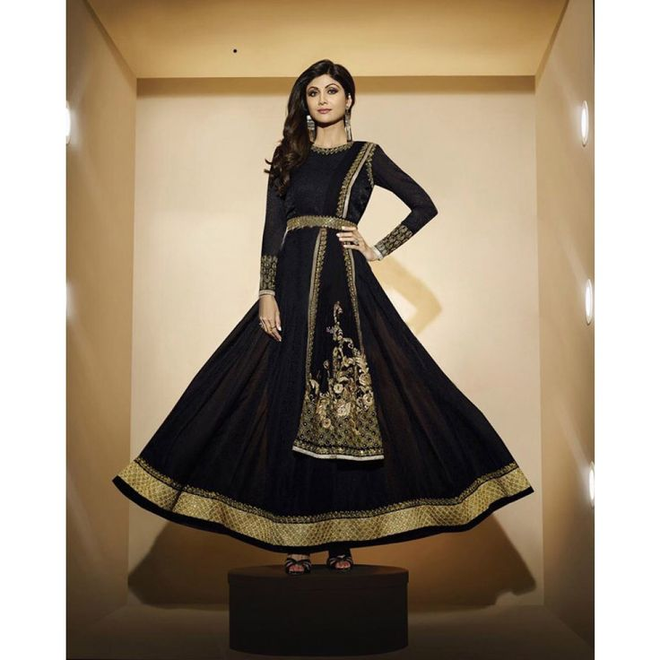 Shilpa Shetty Black Georgette #Anarkali Suits With Dupatta- $103.49