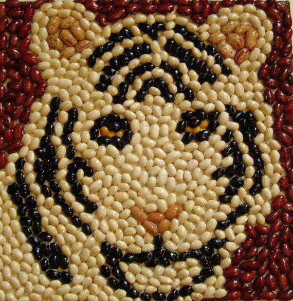 Tigre de mosaico arte de haba por FunArtsNCrafts en Etsy