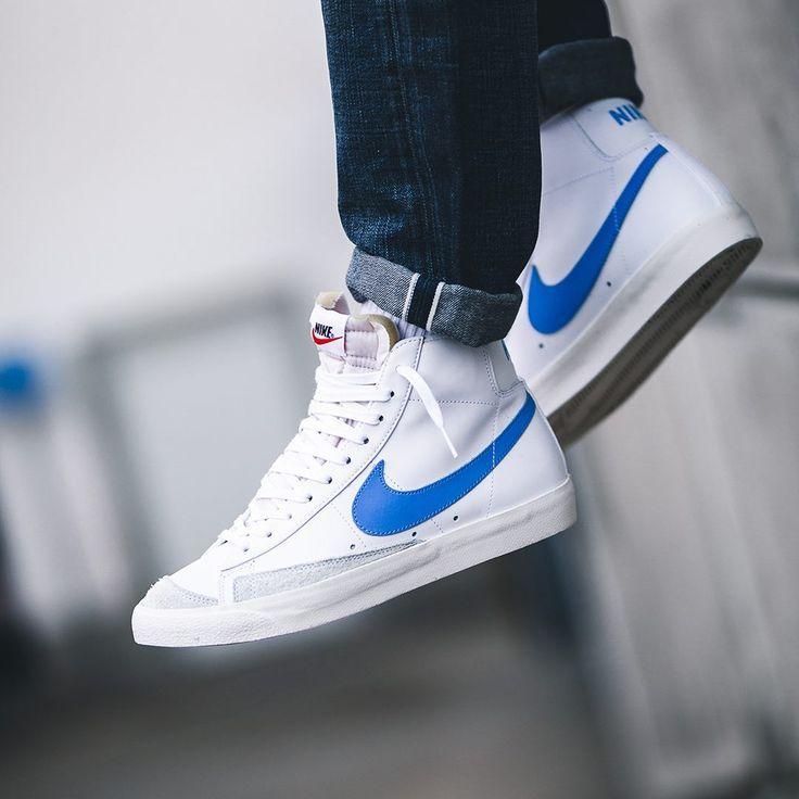 Nike blazer mid '77 vintage blue / white men's sneakers ...