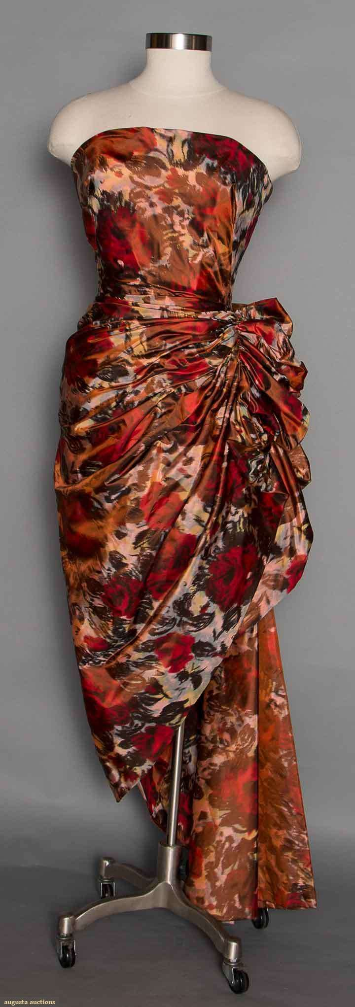 1950s fall colors silk chine print gown, floral leaves, strapless, hip draping swag, designer couture.
