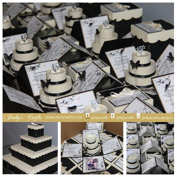 Exploding Box w/ 3Tier Cake Kit  Cream & Black Set by jinkyscrafts, $270.00