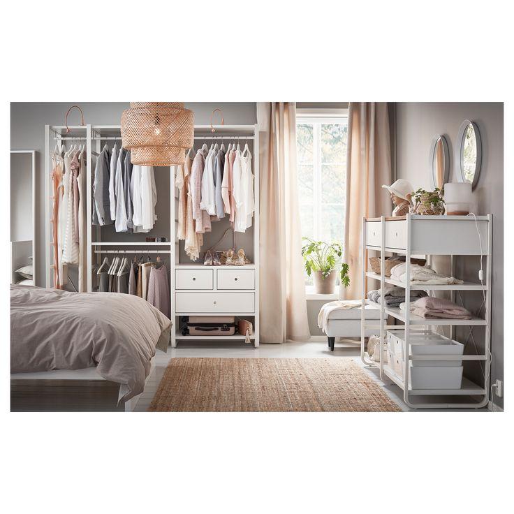 IKEA - ELVARLI, 3 secções, Prateleiras e varões ajustáveis permitem adaptar o espaço de acordo com as suas necessidades.Gavetas com amortecedores para que fechem devagar e silenciosamente.