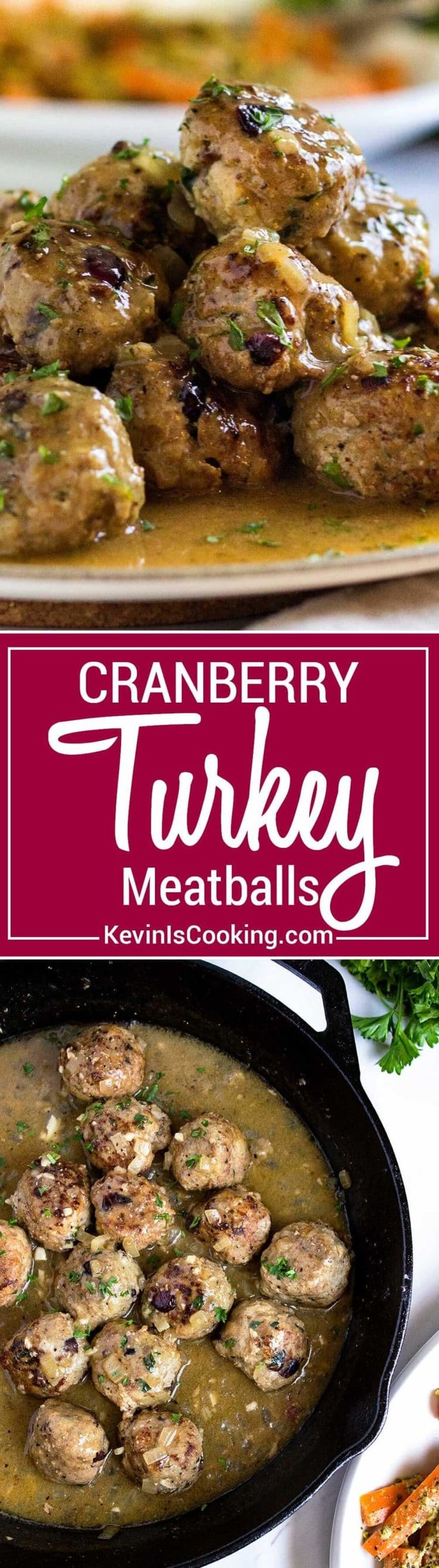 Super moist, tender and packed with flavor, these Cranberry Turkey Meatballs are great any time of year! Serve as an appetizer or with a side for a meal. via @keviniscooking