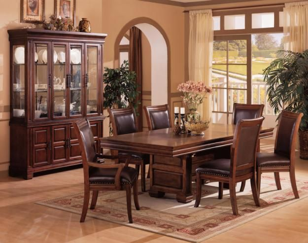 Coaster Westminster Leg Table Set In Rich Finish
