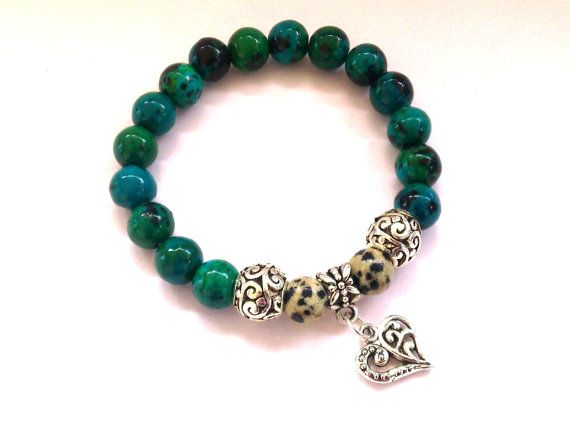 Gemstone Stretch BraceletTurquoise Chryscolla Beads and by MACRANI