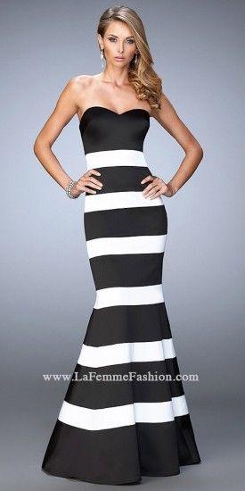 Horizontal Stripe Mermaid Prom Dress By La Femme #edressme