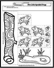 5 green and speckled frogs. Site has other sheets that correspond with other fun songs.