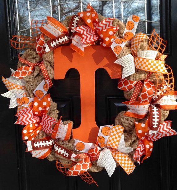 Orange and White University of Tennessee Volunteers Vols inspired Burlap and Ribbon Wreath - Football, Basketball, Chevron & Polka Dots