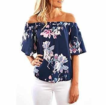 Donne Camicetta Koly_Manica corta Fuori della spalla di modo stampata floreale camicetta casuale delle parti superiori T Shirt (Asian Size:L, Navy)