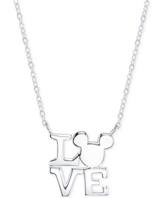 Disney Mickey Mouse Love Necklace in Sterling Silver