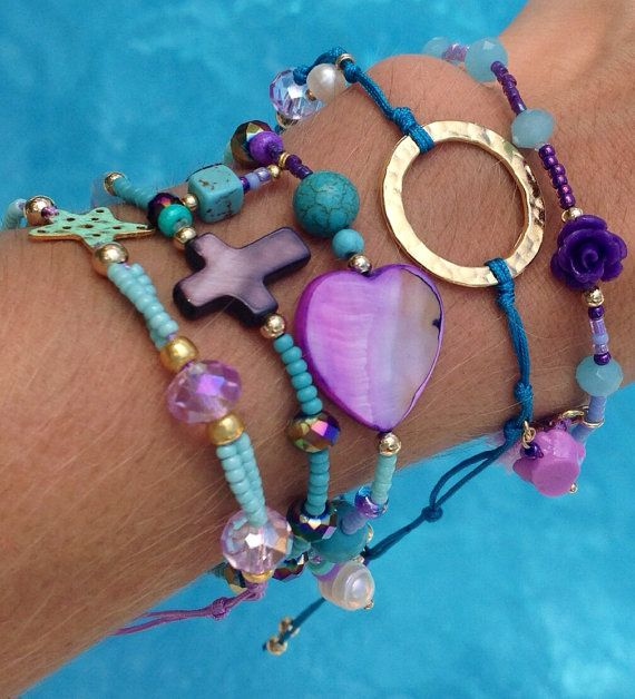 Spearmint Love & Purple Bracelet Set by strawberryandlime on Etsy…