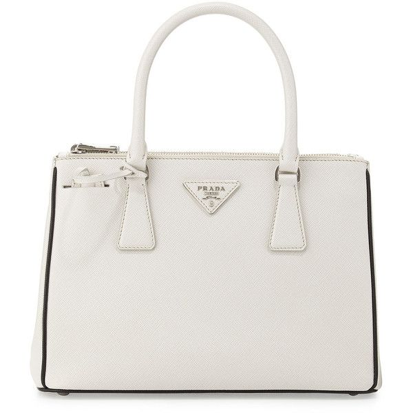Prada Saffiano Lux Double-Zip Tote Bag (2,900 SGD) ❤ liked on Polyvore featuring bags, handbags, tote bags, purses, borse, leather tote, leather purse, white tote bag, prada tote and white leather purse