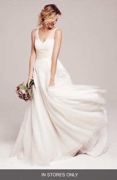 Free shipping and returns on Anne Barge Satin Cummerbund Silk Dress (In Stores Only) at Nordstrom.com. This wedding gown can't be purchased online but is available for special order in our in-store Wedding Suites. Please call 1.888.300.1295 to find one near you or <a href= http://shop.nordstrom.com/c/wedding-suite-locations?origin=leftnav>Book an appointment online.</a><br><br>From its surplice-neckline bodice flecked with twinkling beads to frothy layers swirling around the full, sweeping…