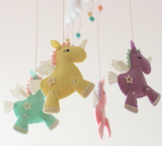 Felt unicorn crib mobile set by MiracleInspiration on Etsy
