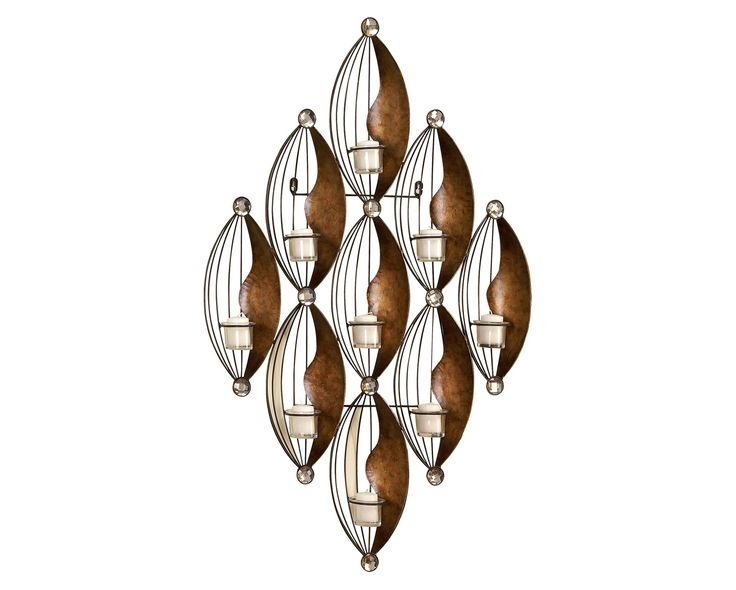 cascading lights metal wall art delicate strands of wrought iron form nine tapered bulb shaped - Metal Wall Art Decor And Sculptures