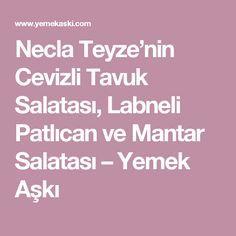 Necla Teyze'nin Cevizli Tavuk Salatası, Labneli Patlıcan ve Mantar Salatası – Yemek Aşkı