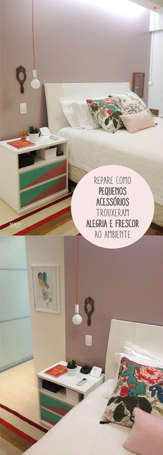 """Cor Farofa Doce C407 da Suvinil - muito bonitinha! Ainda mais formando a """"moldura"""" da cama."""